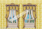 Dolls House Wallpaper Gold vintage Curtains 1/12th scale Quality Paper #127C