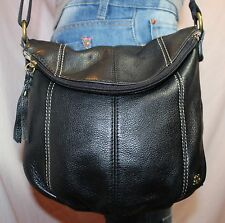 THE SAK Black Med Leather Shoulder Hobo Tote Satchel Slouch Cross Body Purse Bag
