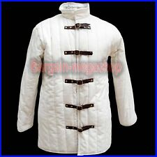 Thick white Gambeson coat Medieval Padded aketon Armor role play theater movies