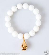 Simon Sebbag  Facet White Onyx Gold Tear Drop Stretch Bracelet Sterling Silver