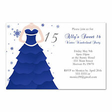 50 Sweet 16 Birthday Invitations 15 Quiceañera Party Blue Dress Teen Invite D1