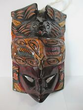 WOOD TOTEM POLE BIRD NATIVE FACE MASK WALL HANGING