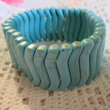 Vintage Lab Created Turquoise Shaped Stone Beads Stretch Bracelet Jewelry 7 1/2""