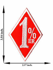1% ER White + Red Color One Percent Biker Outlaw M2 Applique Iron on Patch Sew