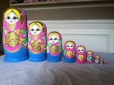 russian nesting doll Set Of 10 Hand made 10.5 inchs tall pink US Seller