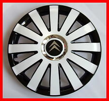 "4x16"" Wheel trims for Citroen  - full set black / white 16"""