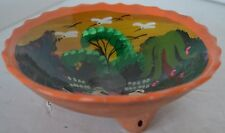 Native American Footed Hand Painted Bowl Clay Pottery New Mexico Indian