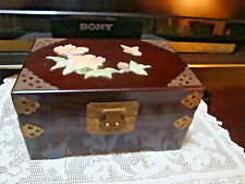 Ant/Vtg Chinese Jewelry Box Rosewood Mother of Pearl Brass Mounts and Handles
