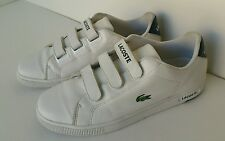 LACOSTE Mens Camden Retro White Tennis Shoes Sneakers Easy On Off Straps sz 11.5
