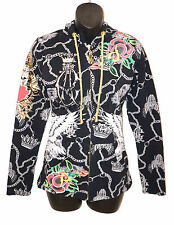 CHRISTIAN AUDIGIER Ed Hardy HOODIE Black White Gold Silver Flower Crown X-SMALL