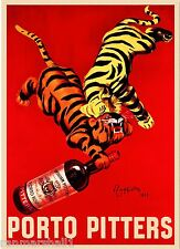 1928 Porto Pitters Tigers Wine Liqueur Vintage Advertisement Art Poster Print