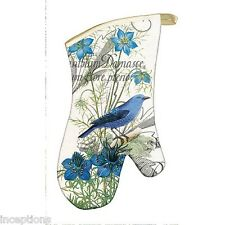 Michel Design Works Cotton Kitchen Oven Mitt Blue Wildflowers Bird - NEW