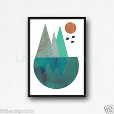 Geometric Landscape With Birds Watercolour Painting PRINT 5x7 Watercolor Art