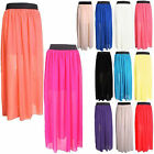 New Ladies Women Pleated Elastic Waist Long Chiffon Maxi Skirt Dress