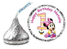 216 BABY MINNIE MOUSE 1ST BIRTHDAY PARTY FAVORS HERSHEY KISS KISSES LABELS