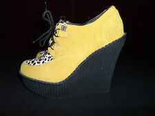 T.U.K. Tuk Suede Animal Print Leopard Wedge yellow Creepers Shoes Size 7