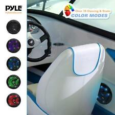 Pair Pyle 6.5'' Marine Waterproof Speakers, Multi-Color LED Lights 150W Black