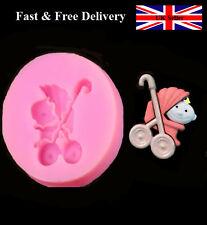 Baby Pram Stroller Silicone Baking Mould Fondant Cake Cupcake Topper Sugarcraft