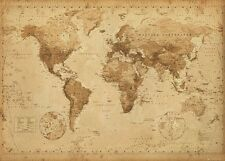 "WORLD MAP POSTER ""ANTIQUE STYLE"" LARGE ""LICENSED"" BRAND NEW WALL CHART 61X91CM"