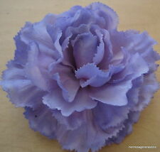 "4"" Lavender Poly Silk True Touch Carnation Flower Hair Clip,Bridal,Dance,Prom"