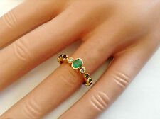 0.67Ct Genuine Natural Diamond And Multi Color Gem Ring In Solid 18K Yellow Gold