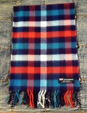 100% Cashmere Scarf Red/Blue Check Plaid Made in Scotland SOFT Warm NEW Soft
