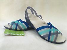 Crocs Women's Huarache Mini Wedge Wedges Sandals Navy Aqua SIZE 10 NWT