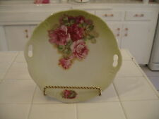 Beautiful Vintage Bavarian Cabinet Cake Plate With Handles And Pink Roses 158