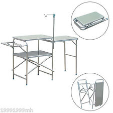 Outsunny Folding Camp Kitchen Table Portable Picnic Table Cook Station Outdoor