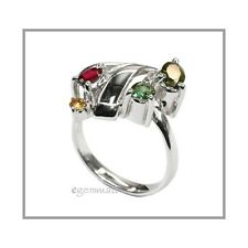 3.0ct Mixed Tourmaline In Sterling Silver Ring #65097