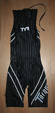 NEW TYR WOMEN'S Black TORQUE LITE Back Zip Shortjohn Kneeskin Swimskin - XS