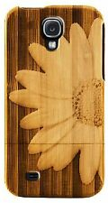 Samsung Galaxy S5 V 5 Case Bamboo Engraved Daisy Flower Cover Natural Hard Wood