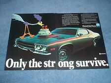 "1973 Plymouth Road Runner Vintage 2pg Ad ""Only the Strong Survive"""