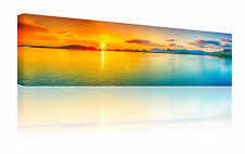 """Panoramic 10"""" x 30"""" orange & teal sunset wall art canvas picture print FREE p&p"""