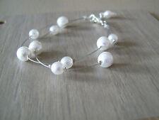 Bracelet de perles nacrées Blanc  pr robe de Mariée/Mariage/Soirée, pas cher