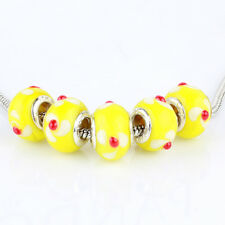 5pcs Yellow MURANO silver plated glass bead LAMPWORK For European Charm Bracelet