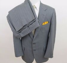 H.Freeman & Son Boardroom Pure Wool Gray Striped Mens Suit 40 42 R 33x30 USA