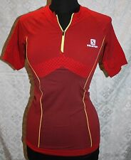 Womens Salomon Cycling Jersey Sz L NWT Shirt Sample New Red Exo Motion Zip Tee