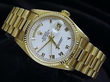 Mens Rolex Solid 18k Yellow Gold Day Date President w/ White Roman Dial 18038