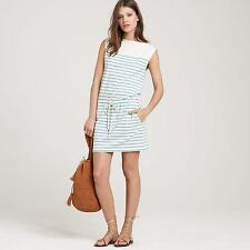 J. CREW Sleeveless STOWAWAY Casual Nautical Teal Striped Sun Dress Size L