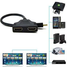 1080P HDMI Male to 2 Female 1 In 2 Out Splitter Cable Adapter Converter PS3 TL