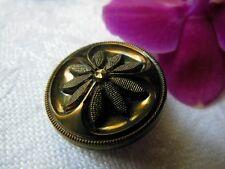 ancien bouton en verre décor de marguerite vert métalisé vintage 2,1 cm D3C