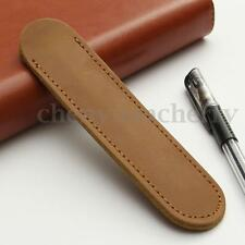 Genuine Leather Handcraf Single Pen Case Bag Holder Storage Sleeve Pouch Khaki