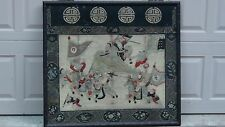 ANTIQUE 19c CHINESE RARE GOLD THREAD EMBROIDERY PANEL OF BATTLE SCENE W/WARRIORS