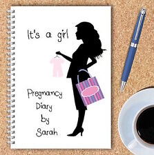 A5 PERSONALISED PREGNANCY DIARY, WIRE BOUND PREGNANCY JOURNAL, GIFT, OWN NAME,10