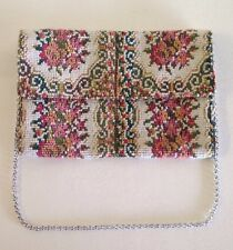 Vintage Needlepoint Tapestry Floral  Handbag Purse w/ silver chain