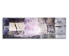 150x50cm Panoramabild Paul Sinus Art Abstrakt schwarz grau lila creme Wohnzimmer