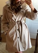 NWT Beige Trench Coat  Size XXL With Faux Fur Scarf