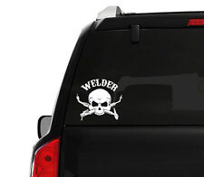 "(2x) 5"" Welder Skull Bone Emblem Decal Sticker Mig Tig Arc Torch Welding Fitter"