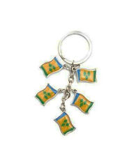ST. VINCENT & THE GRENADINES 5 COUNTRY FLAG  METAL KEYCHAIN .. NEW